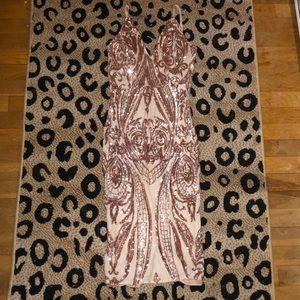 rose gold sequin nude dress